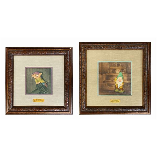 Pair of Snow White Courvoisier Cels of Dopey & Bashful.