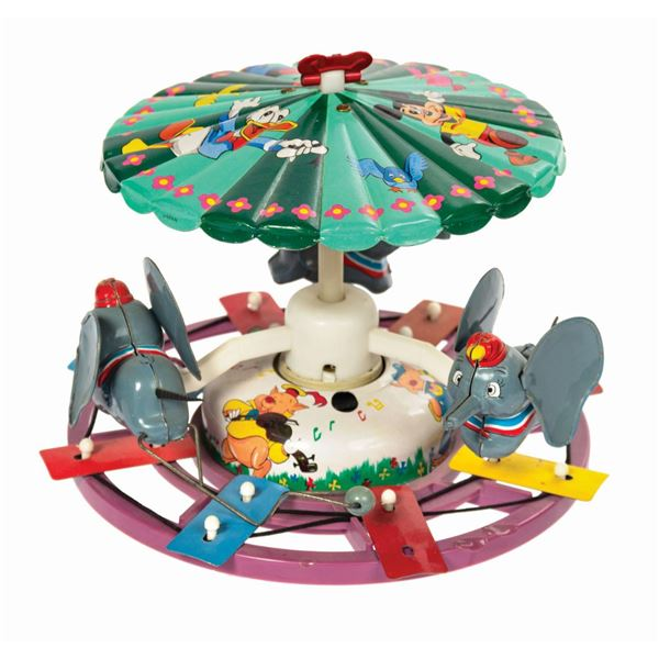 Marx Dumbo Musical Mechanical Merry-Go-Round Tin Toy.