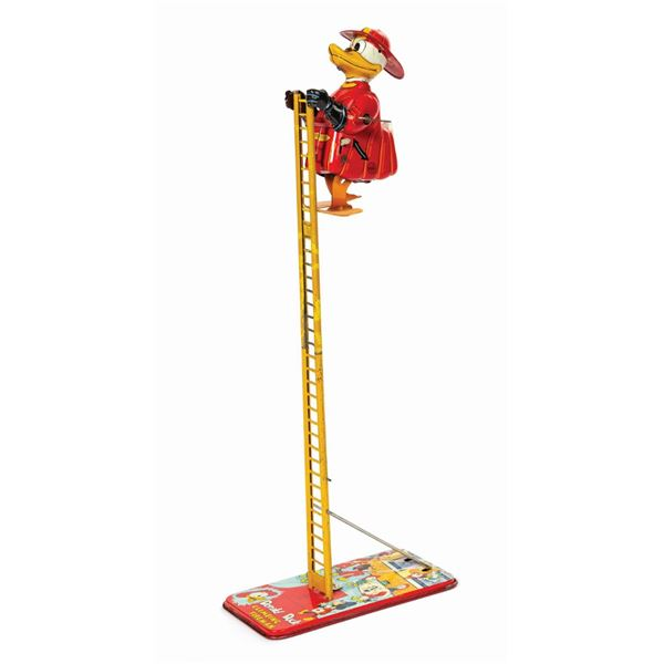 Linemar Donald Duck Climbing Fireman Tin Toy.