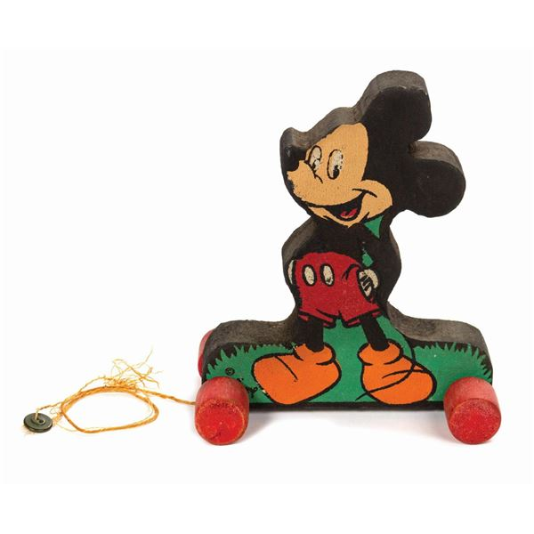 Mickey Mouse Wooden Pull Toy.
