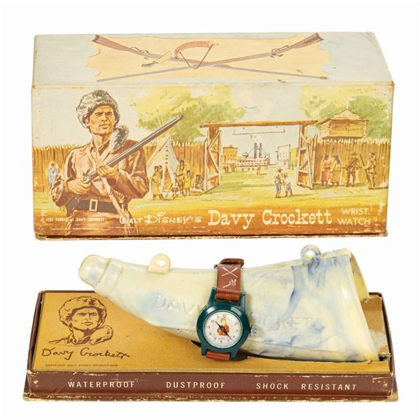 Davy Crockett Wristwatch in Powder Horn Box.