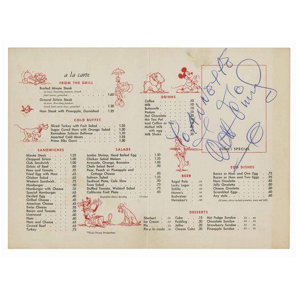 Walt Disney Signed Disney Studio Restaurant Menu.