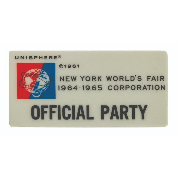 New York World's Fair 1964-65 Official Party Badge.