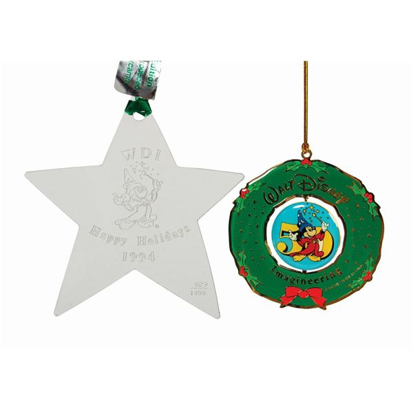 Pair of Walt Disney Imagineering Christmas Ornaments.