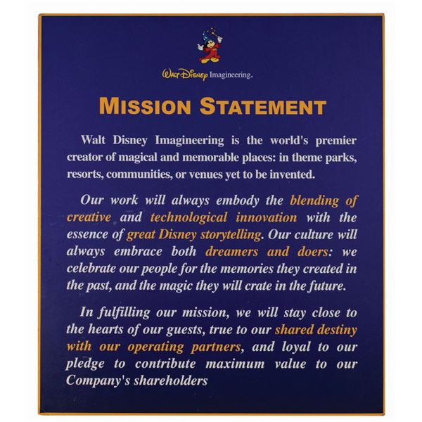 WED Imagineering Mission Statement Sign.