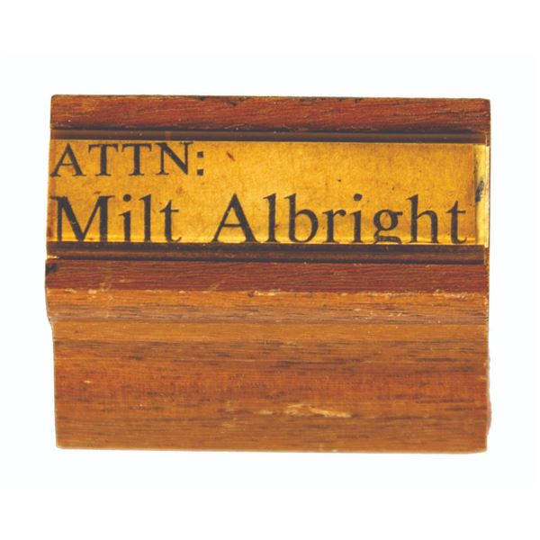 Milt Albright Disneyland Office Rubber Stamp.