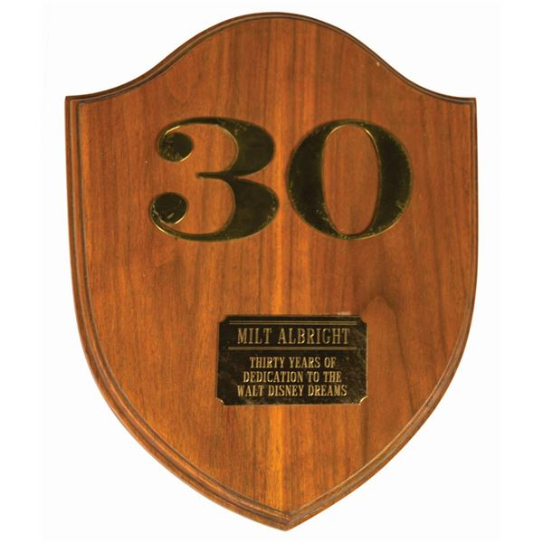Milt Albright's Disneyland 30 Years of Service Plaque.