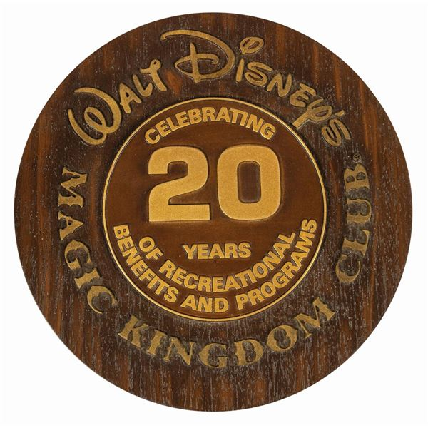 Milt Albright's Magic Kingdom Club Anniversary Plaque.