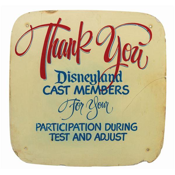 Disneyland Test and Adjust Backstage Sign.