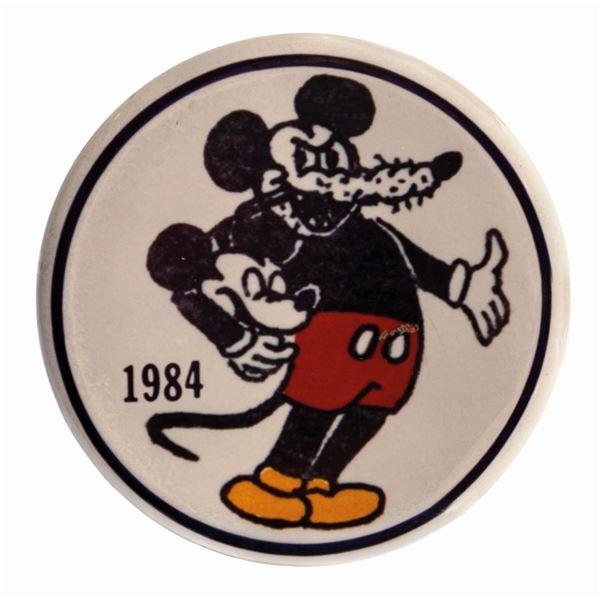 Disneyland Cast Member Strike Mickey Mouse Button.