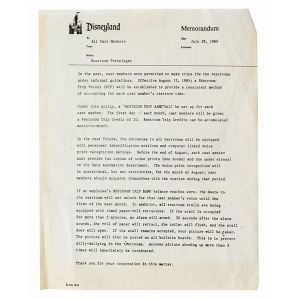 Disneyland Cast Member Joke Memorandum.