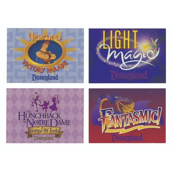 Set of (4) Disneyland Cast Member Information Cards.