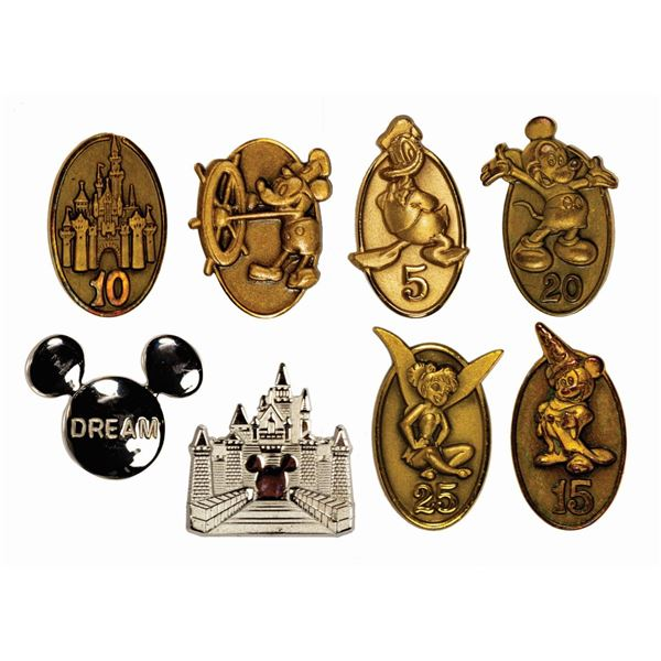 Collection of (8) Cast Member Service Pins.