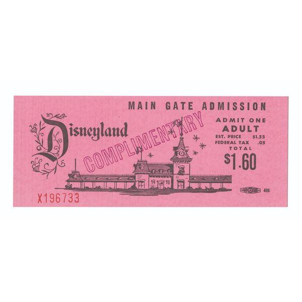 Disneyland Main Gate Complimentary Passport.