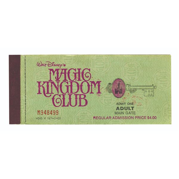 Disneyland Magic Kingdom Club Ticket Booklet.