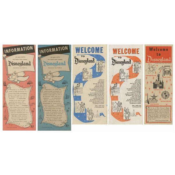 Set of (5) Disneyland Informational Brochures.
