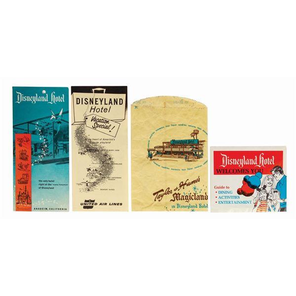 Taylor & Hume Bag & (3) Disneyland Hotel Brochures.