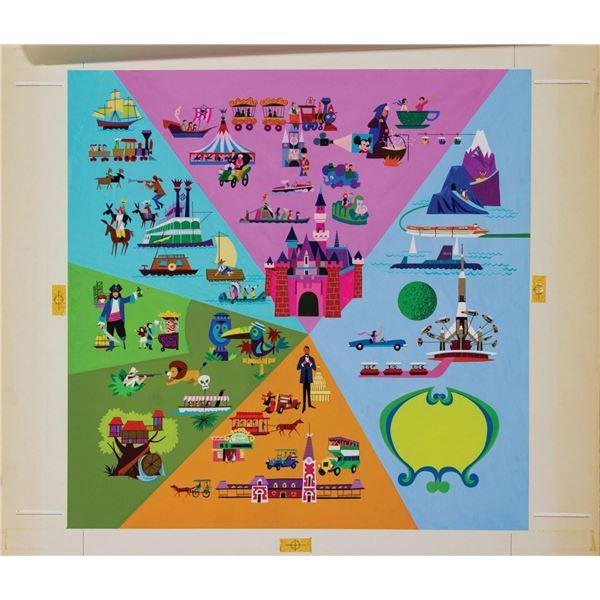 Original Disneyland Attractions Map Painting.