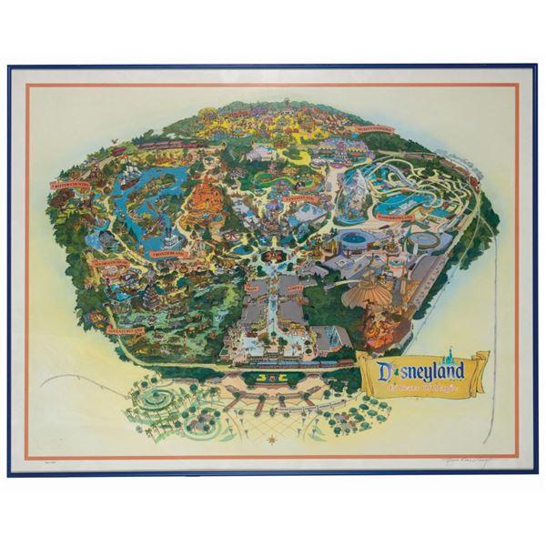 "Signed ""45 Years of Magic"" Disneyland Map Print."