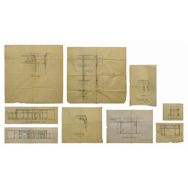 Set of (9) Main Street U.S.A. Architectural Drawings.