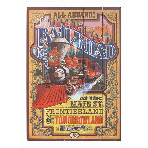 Disneyland Railroad Wooden Attraction Poster.