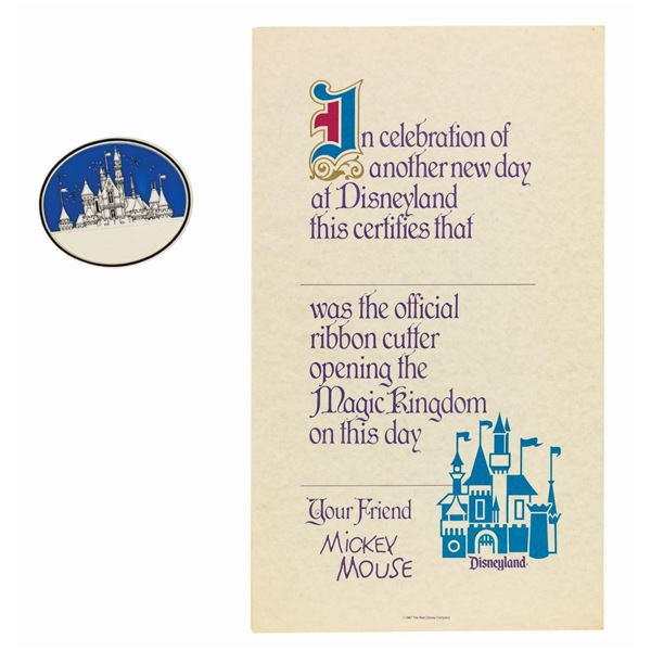 Disneyland Ribbon Cutting Certificate & Badge.