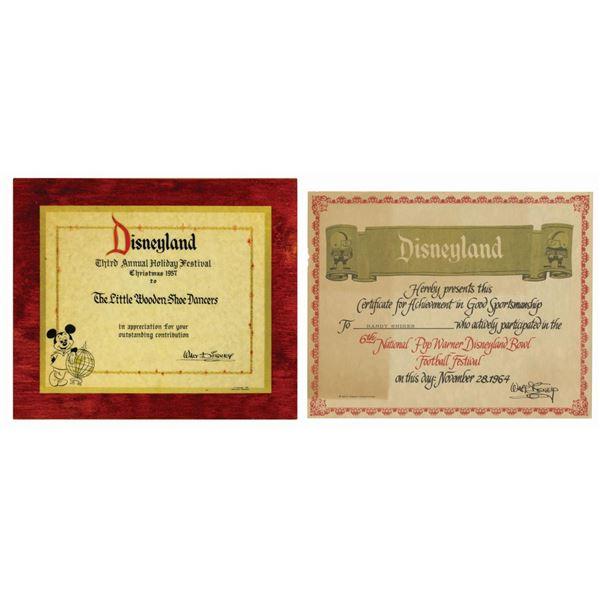 Pair of Disneyland Special Event Certificates.
