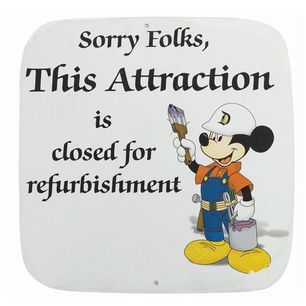 Disneyland Attraction Refurbishment Sign.