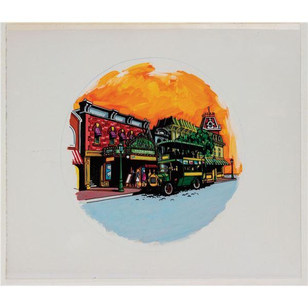 Original Main Street Cinema Drink Tray Painting.