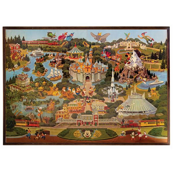 Disneyland Map Wallpaper Framed Display.