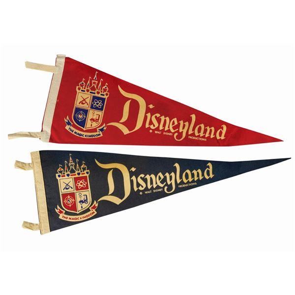 Pair of Disneyland Crest Pennants.