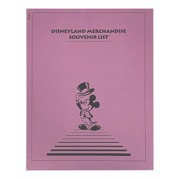 Disneyland Merchandise Souvenir List.