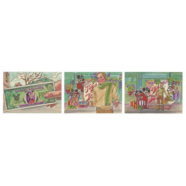 Set of (3) Disney Dollars Ad Storyboard Drawings.