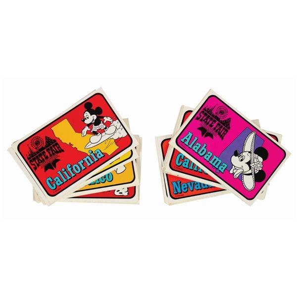 "Set of (118) Disneyland ""State Fair"" State Stickers."