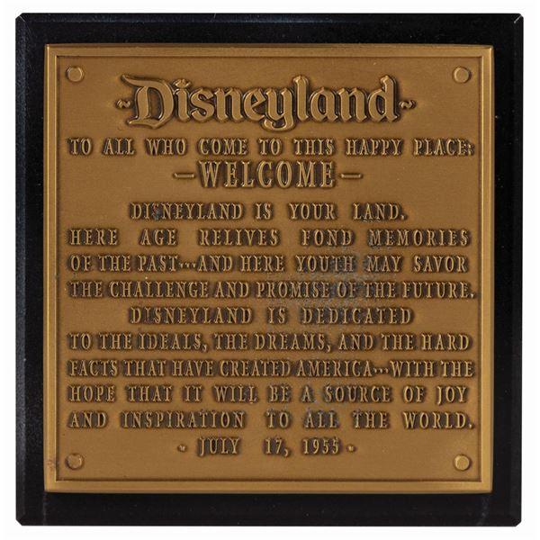 Disneyland 50th Anniversary Dedication Plaque.
