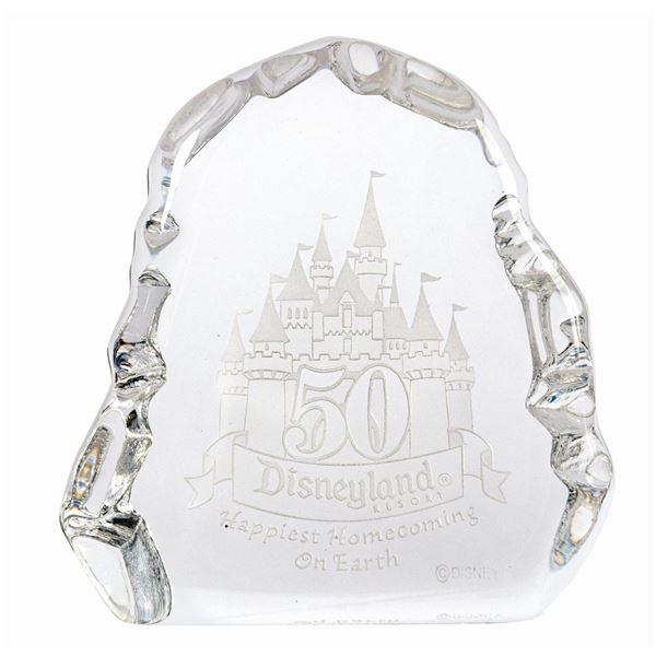 Disneyland 50th Anniversary Etched Glass Paperweight.