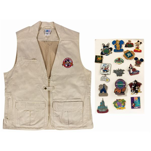 Disneyland Pin Trading Vest With (17) Pins.