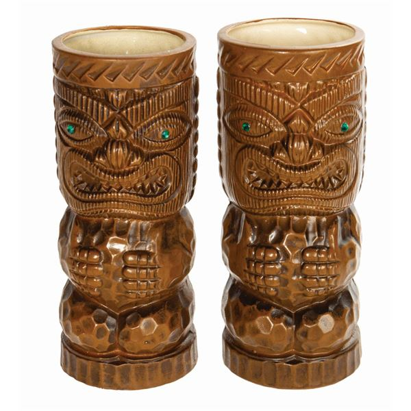 Pair of Adventureland Jewel-Eyed Tiki Mugs.
