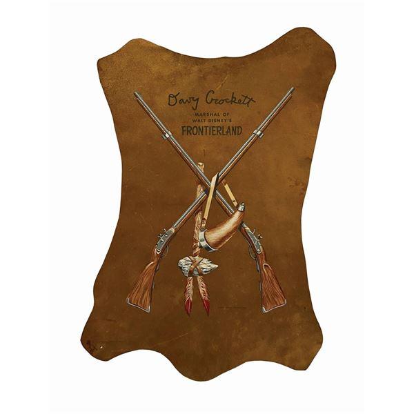 Davy Crockett Frontierland Leather Sign.