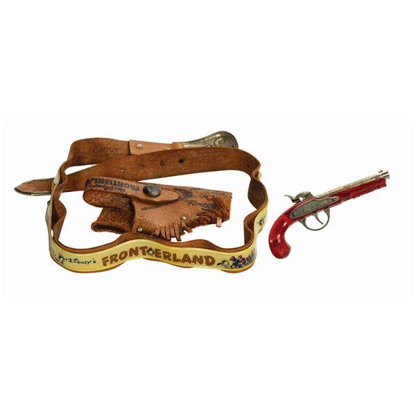 Davy Crockett Frontierland Gun Belt and Cap Pistol.