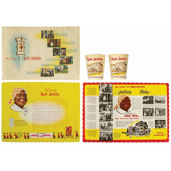 Set of (3) Aunt Jemima's Kitchen Placemats & (2) Cups.