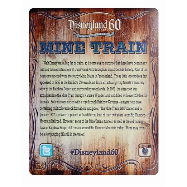 Disneyland 60th Anniversary Mine Train Photo Op Sign.