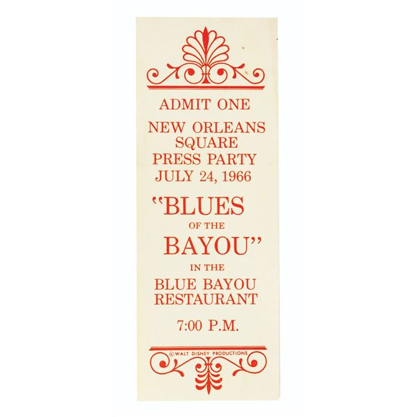 Milt Albright's Blues of the Bayou Press Party Ticket.