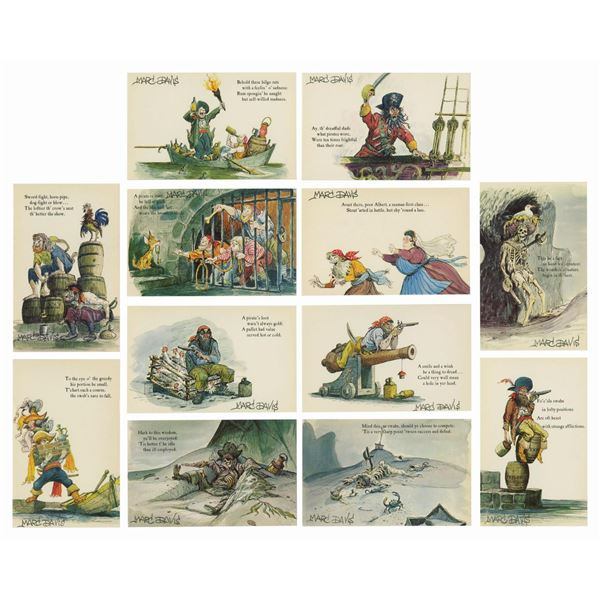 Set of (12) Marc Davis Signed Pirates Postcards.
