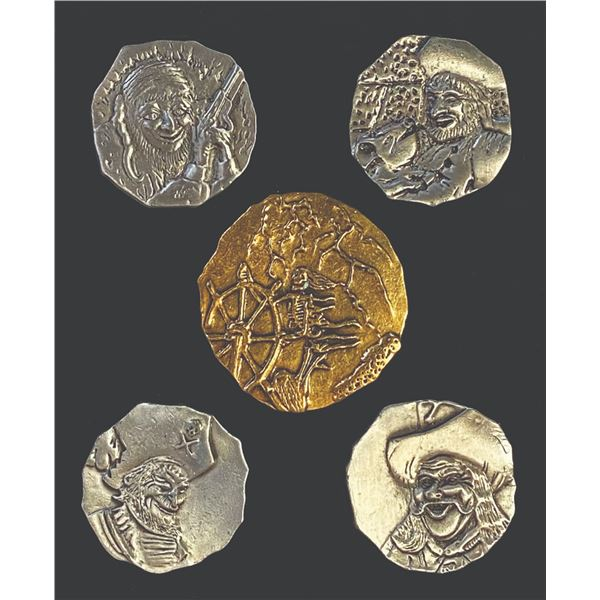 Set of (5) Pirates of the Caribbean Event Coins.
