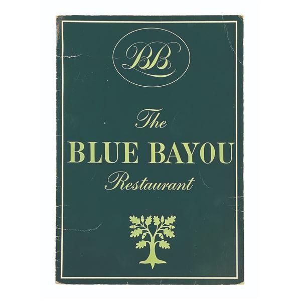 Blue Bayou Restaurant Dinner Menu.