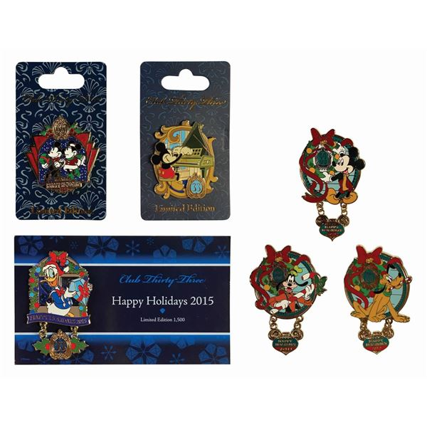 Set of (6) Club 33 Holiday Pins.