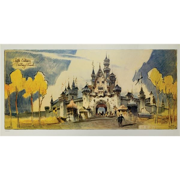 Herb Ryman Sleeping Beauty Castle Lithograph.