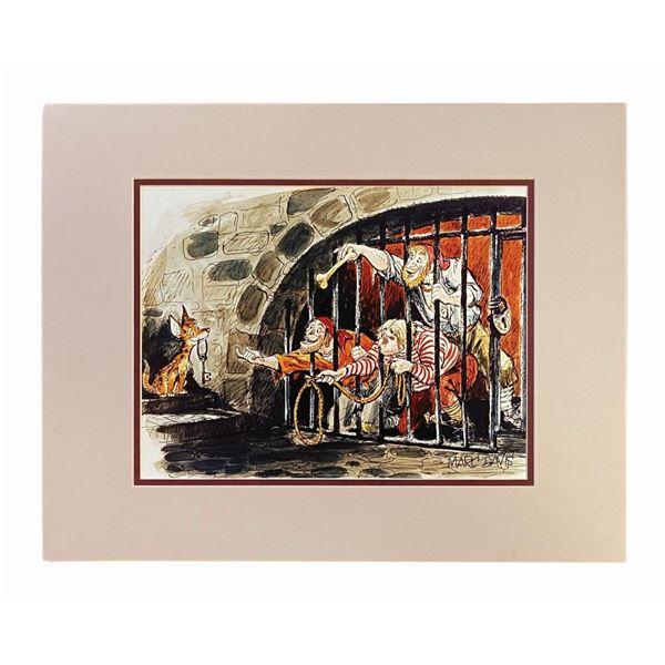 Signed Marc Davis Pirates Jail Scene Concept Art Print.