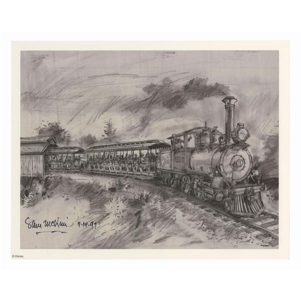 Signed Sam McKim Disneyland Railroad Concept Art Print.